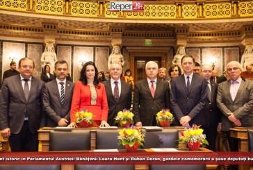 Moment istoric în Parlamentul Austriei! Bănățenii Laura Hant și Ruben Doran, gazdele comemorării a șase deputați bucovineni