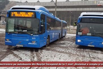 """Bilete electronice pe autobuzele din Reșița! Începând de la 1 mai! """"Sistemul e simplu și elegant""""!"""