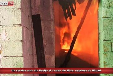 Un service auto din Reșița și o casă din Măru, cuprinse de flăcări
