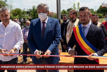 Misiune îndeplinită pentru primarul Brian Filimon! Cetățenii din Măureni au bază sportivă și parc central